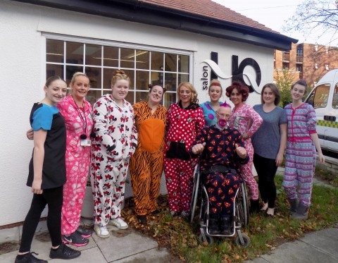 Gerry Kinsella with Hairdressers raising money for Children in Need 2014