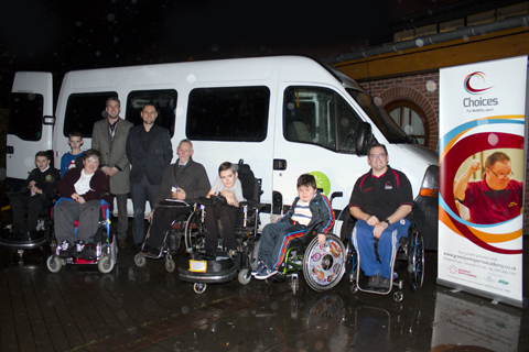 Greenbank's Chief Executive Gerry Kinsella, (third from the right) together with Sport Development Manager Mark Palmer (far right) and participants of disability sports activities, accept the vehicle from ERS Medical representatives Sam Parry and Stephen Sullivan
