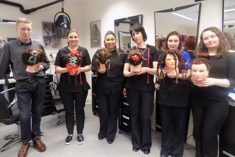 Level 1 students with their Christmas hair designs