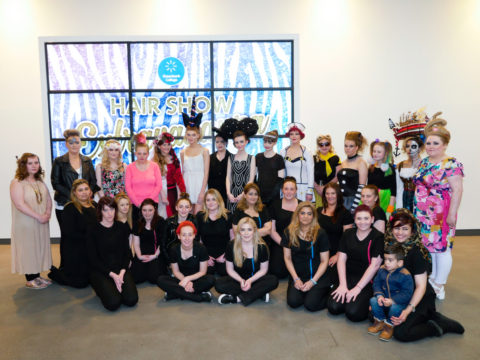 Hairdressing students with their Hair Show models