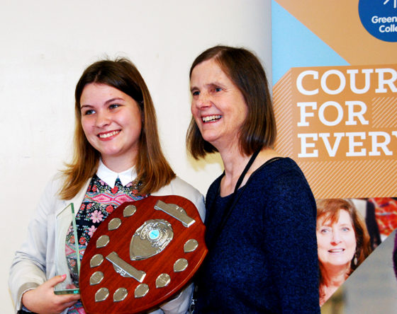 Molly Davies Student of the Year with trophy