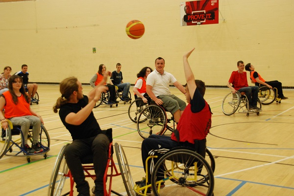 Greenbank College students try wheelchair basketball
