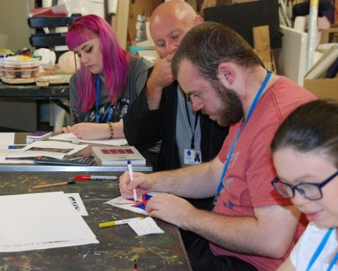 Students at Paralympic art session