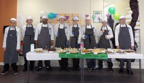 Greenbank College catering students ready to serve up their delicious cakes in the College canteen