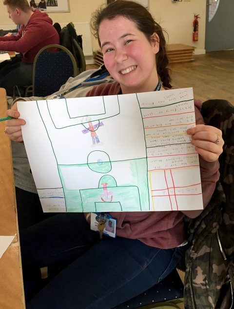 Jess with her football game design