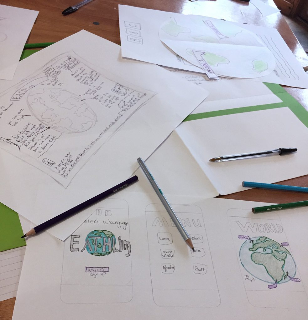 A selection of ideas for the Earthlings app including mockup screens.