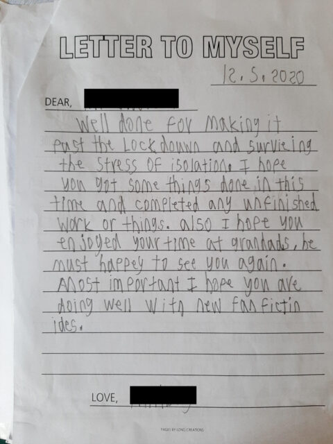 A student's letter to themselves as part of the Time Capsule Project